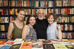 From left, Mia Clement and Emily Berg of Books and Books are seen with George Cooper and Judy Blume.